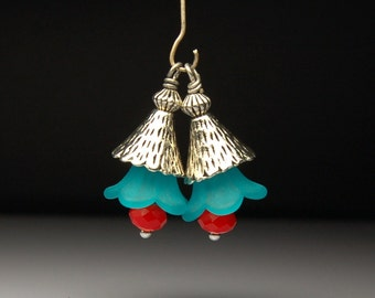 Vintage Style Bead Dangles Turquoise and Red Lucite Flowers Pair BL55