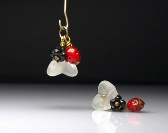 Vintage Style Bead Dangles White Frost Glass Flowers Pair C45