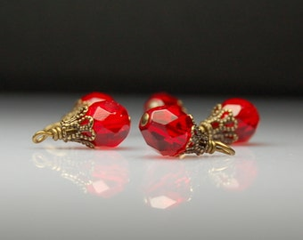 Vintage Style Bead Dangles Red Glass Set of Five R18