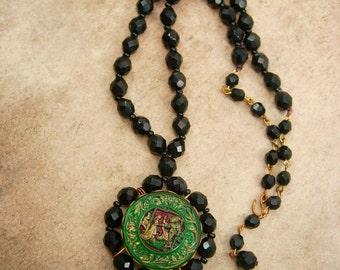 Vintage BLACK renaissance figural Necklace Sir Lancelot and Guinevere