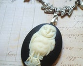 Snowy Owl - Cameo Necklace, Owl Necklace, Pearl Necklace, Gunmetal Necklace