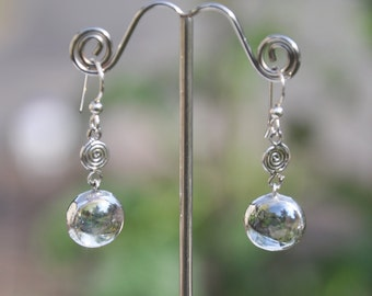 Spiral Clear Glass  and Sterling Drop earrings