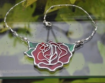 Stained Glass Red Rose Necklace Sterling Silver Curved Bar Chain