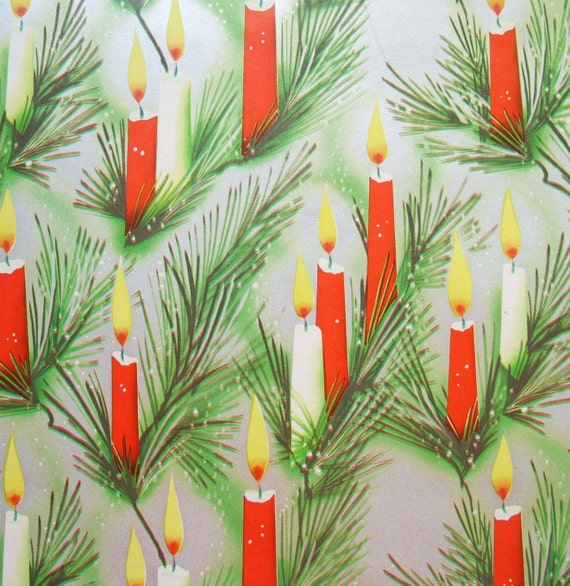 Vintage Candles and Pine on Silver Christmas Wrapping Paper Full Sheet 20 x 28
