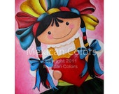 Giving Love -  Giclee print from original painting / Mexican Folk art by Mirlette Islas