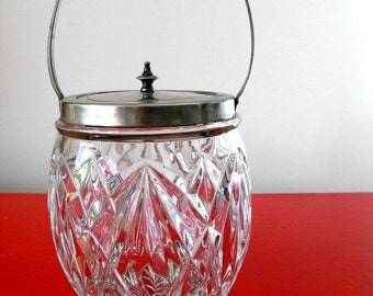 Antique glass diamond patterned ICE bucket with lid