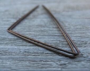 triangle earrings. geometric hoops. brown anodized niobium.