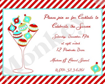Christmas Holiday Cocktail Party Invitations with Free Matching Return Address Labels