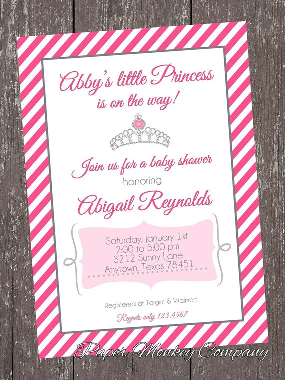 princess baby shower invitations by pmcinvitations on etsy