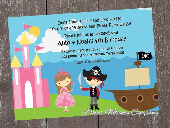 Princess and Pirate Birthday Invitation by Paper Monkey Company – Princess and Pirate Birthday Invitations