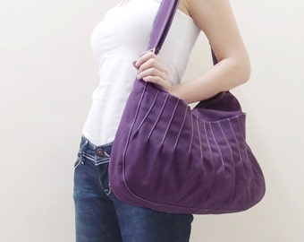 Canvas Crossbody Bag in Purple, Sling bag, Market Bag, Shoulder Bag, Everyday Purse, Handbags, Gift Ideas for Women - KANGAROO - 40% OFF