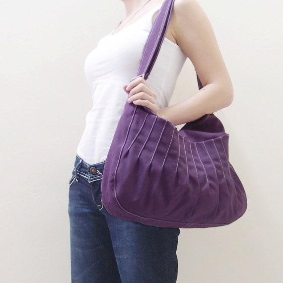 Canvas Crossbody Bag in Purple, Sling bag, Market Bag, Shoulder Bag, Everyday Purse, Handbags, Gift Ideas for Women - KANGAROO - 40% OFF