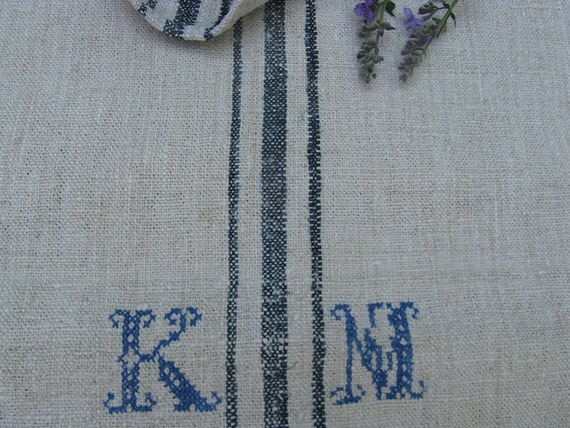 antique grain sack cushion tablerunner upholstery FRENCH INDIGO wedding decor