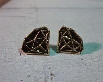 LAST PAIR - Mini Black-Gold Diamond Stud Earrings