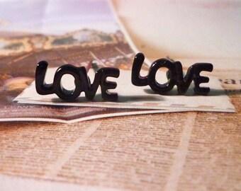 SALE - Mini Black Love Word Stud Earrings