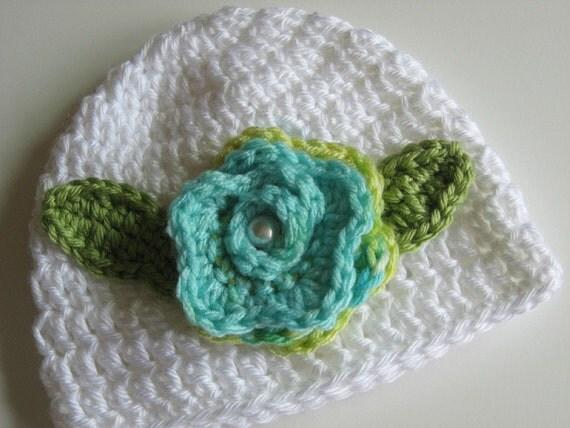 White Crochet Baby Hat  0 - 3 Months