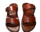Brown Buckle-Bio Leather Sandals for Men & Women - Handmade Unisex Sandals, Flip Flop Sandals, Jesus Sandals, Genuine Leather Sandals
