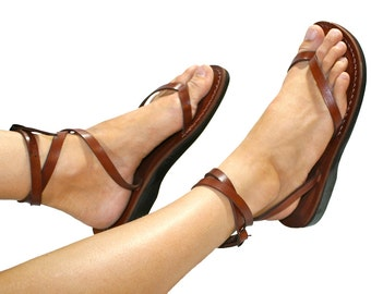 Brown Ankle-strap Leather Sandals For Men & Women - Handmade Sandals, Leather Flip Flops, Unisex Flat Sandals, Brown Leather Sandals