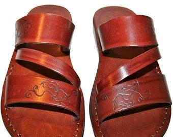 Brown Decor Flip Leather Sandals For Men & Women - Handmade Sandals, Brown Flip Flops, Jesus Sandals, Genuine Leather Flats, Unisex Sandals