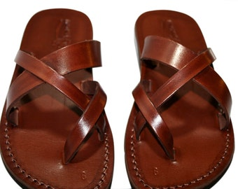 Brown Comply Leather Sandals For Men & Women - Handmade Sandals, Flat Jesus Sandals, Leather Flip Flops, Brown Unisex Leather Sandals