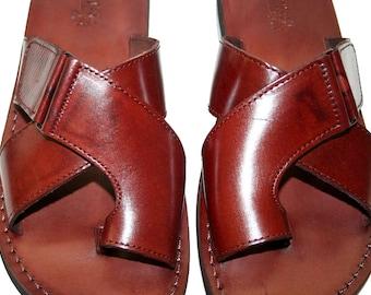 Brown Tiger Leather Sandals For Men & Women - Handmade Unisex Sandals, Flip Flop Sandals, Jesus Sandals, Genuine Leather, Brown Sandals