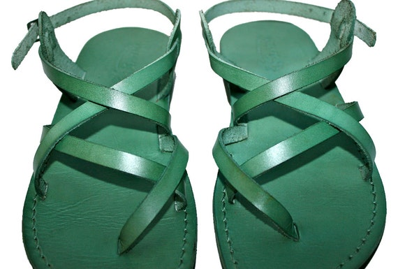 Green Triple Leather Sandals for Men & Women - Handmade Sandals, Leather Flip Flops, Jesus Sandals, Unisex Sandals, Green Sandals
