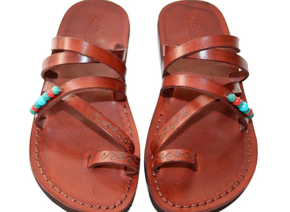 Brown Decor Buckle-Free Leather Sandals for Men & Women - Handmade Sandals, Leather Flip Flops, Jesus Sandals, Brown Leather Flat Sandals