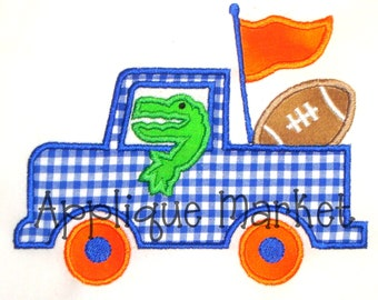 Machine Embroidery Design Applique Gator Football Truck INSTANT DOWNLOAD