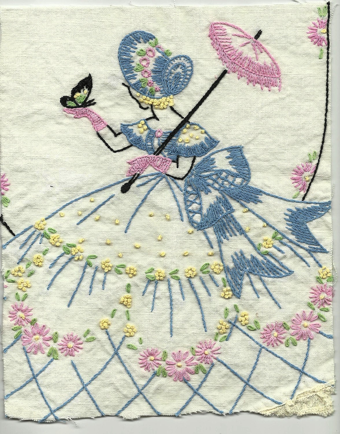 Vintage southern belle embroidery handwork linens hand