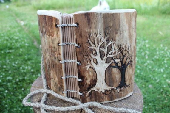 Rustic wood wedding guest book Coptic stitched  with 2 Trees of Life