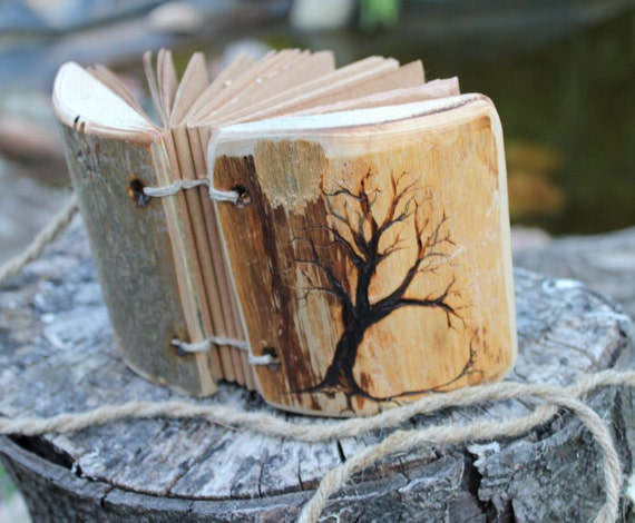 Rustic wood journal Tree of life