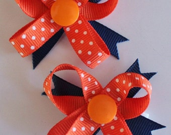 Orange & Blue Chicago Bears Snap N Go Dog Hair Bows - Set of 2 or Custom Single
