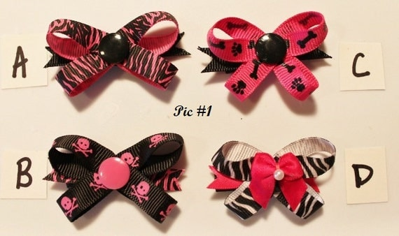 PINKnBLACK Snap N Go Dog Hair Bows - Set of 2 or Custom Single Bow