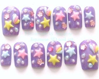 Kawaii nails, 3D nails, deco nails, pastel, fairy kei, mahou kei, magical girl, shooting stars