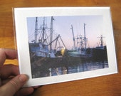 Fishing Boats in Harbor Photo Notecard - Seascape Photography - Blank Greeting