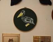 Pelican ScreenPrinted Embroidery Hoop Wall Hanging