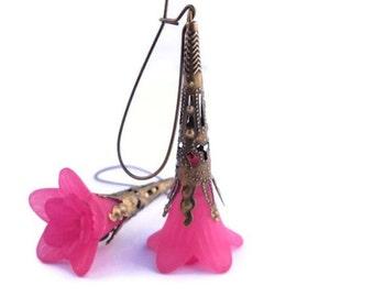 Pink Flower Earrings-Hot Pink Lucite Trumpet Flower Earrings with Antique Bronze Findings & Kidney Earwires