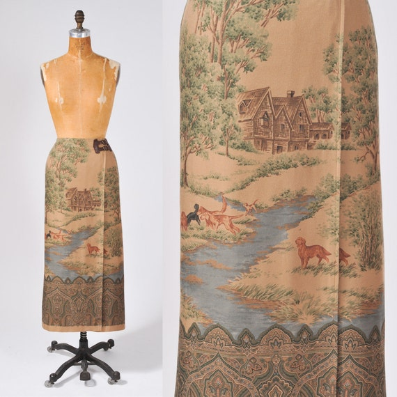 Vintage Landscape Wool Wrap Skirt - Ralph Lauren Designer Hunt Skirt - Taupe Brown Dogs and Trees