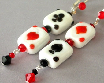 Playing card earrings, red and black lampwork glass and crystal, leverback earwires