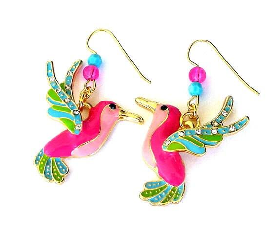 Multicolor hummingbird earrings, pink, blue, green, enamel, Swarovski crystal