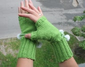 Sale - was 22 now 19 - Lime green handknitted fingerless gloves decorated with white knobs