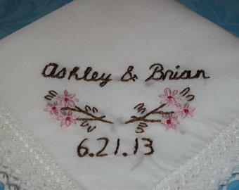 wedding handkerchief, bride gift, bouquet wrap, names and date, personalized, hand embroidered, cherry blossom hanky,