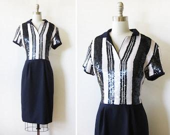 navy sequin dress, vintage 70s sequin silk dress, medium 70s striped sequin dress
