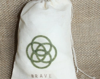 BRAVE, celtic symbol, CHANGE your FATE, muslin drawstring bag,  birthday party favor (12 individual bags) pixar, disney