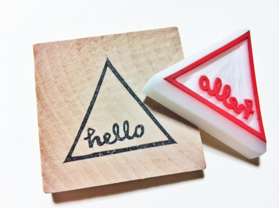Hello hand lettered stamp geometric triangle carved