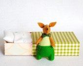 Green felt rabbit miniature plush in matchbox