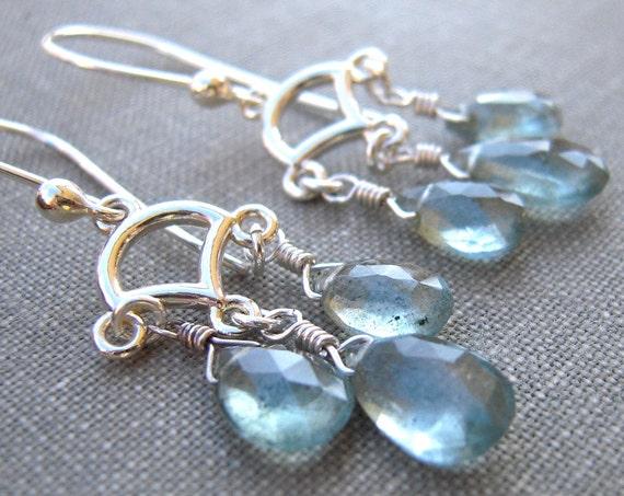 Moss Aquamarine Earrings, Sterling Silver Links Dangle