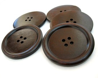 "Large wood button in dark brown 2"" set of 3  #BB150A"
