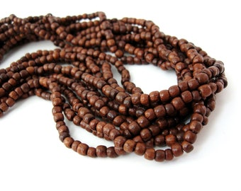 Brown Wood Beads 3mm round 200pcs - Natural wooden beads #PB226C