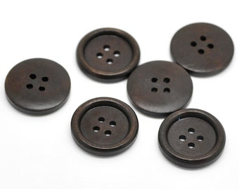 Dark coffee brown Wooden Sewing Buttons 25mm - set of 6 natural wood button  (BB126B)